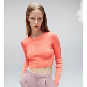ZARA CROPPED RIBBED SHIRT IN CORAL